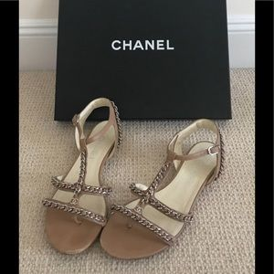 Authentic Chanel Chain link Nude Sandals Size 38.5
